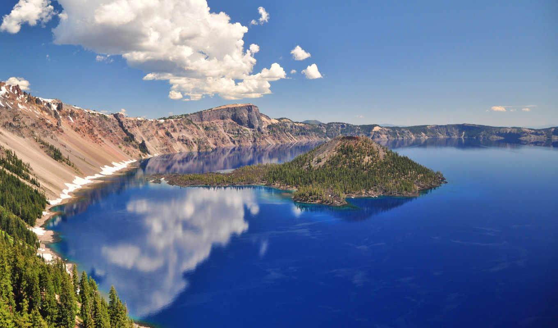 озеро, crater, горы, природа, national, небо,
