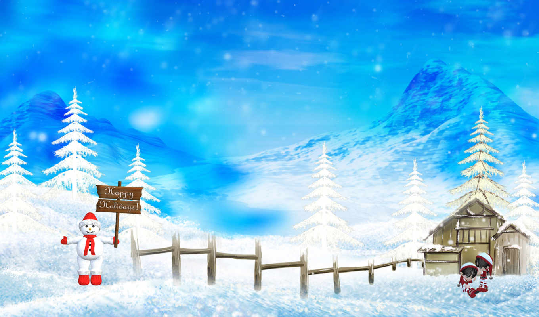 christmas, снег, фон,