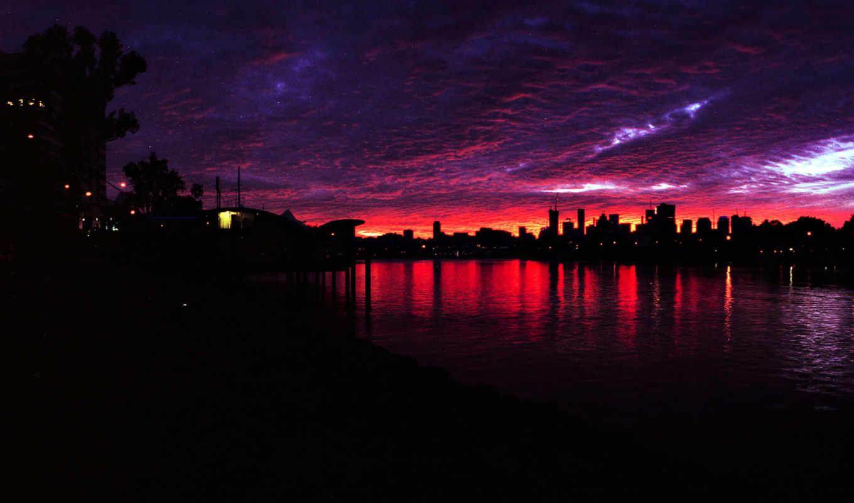 закат, ночь, река, дома, бардовый, города, город,