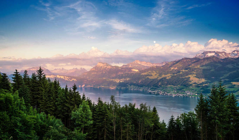 лес, природа, гора, озеро, небо, красивый, дерево, облако, фото, rock, взгляд