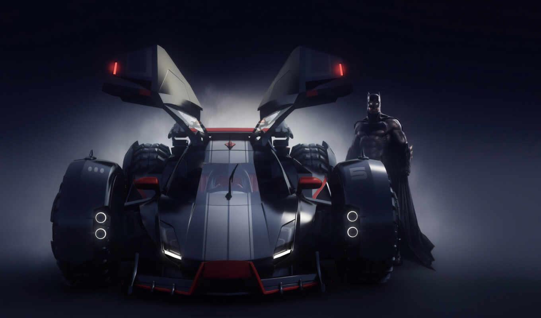 batmobile, batman, фон, супергерой, artist, фото, art, artwork, digital