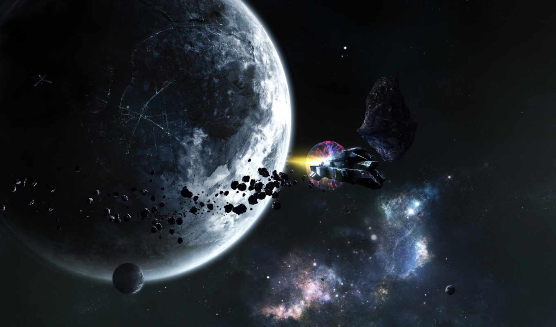 звезды, корабль, планеты, space, hinh, nen, desktop, dep, orbita, grey, click, planet, астероид,