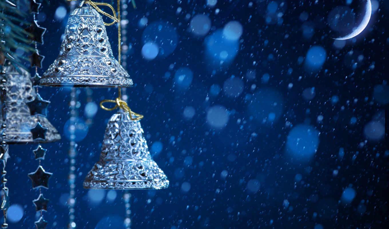 колокольчики, снег, новый год, луна, ночь, звёздочки