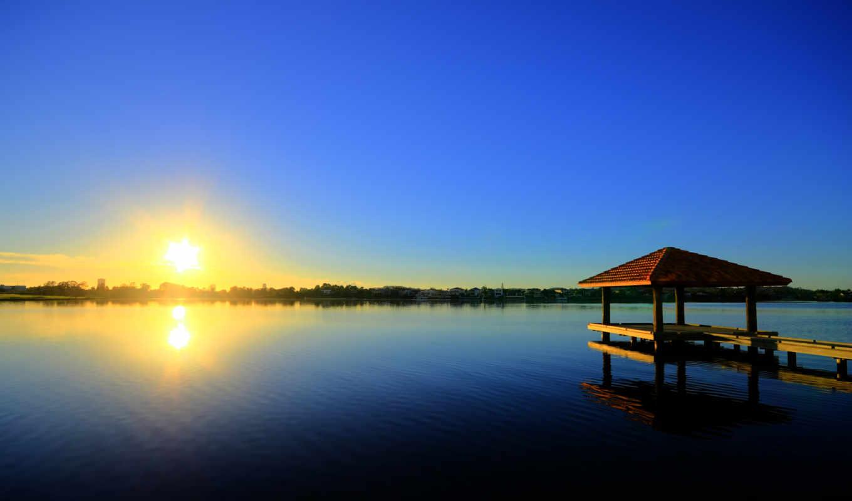 gold, побережье, австралия, картинка, озеро, восход, утро,