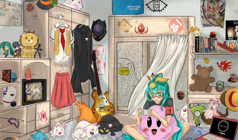 anime, art, комната,