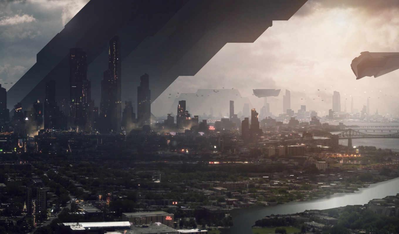 painting, tuto, небоскребы, будущее, techniques, avancées, digital, город, река, environment, ночь, design, les, картинку,