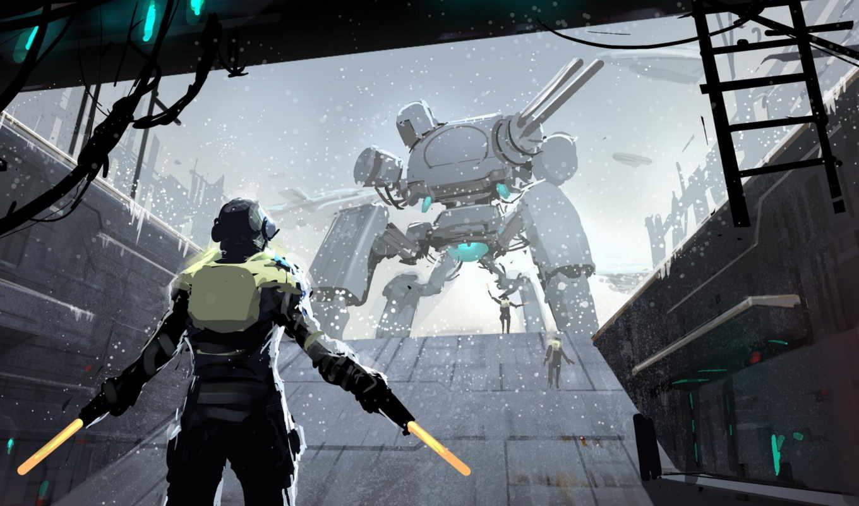 меча, futuristic, fantasy, artwork, об, robot, снег, art, дек, science, bulbs, свет, фантастика, drawings,