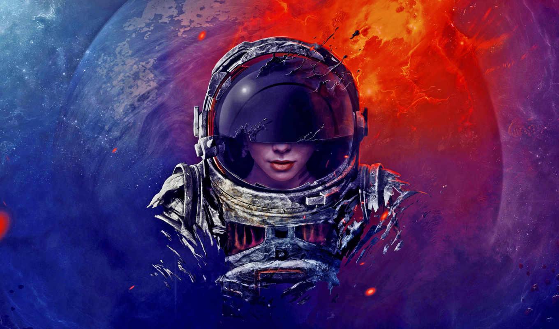 астронавт, sci, женщина, небо, девушка,