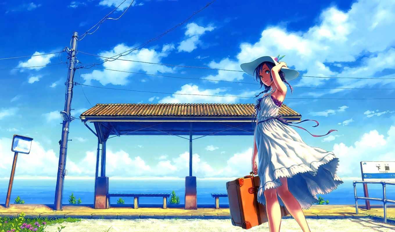 anime, девушка, чемодан, stop, шляпа,
