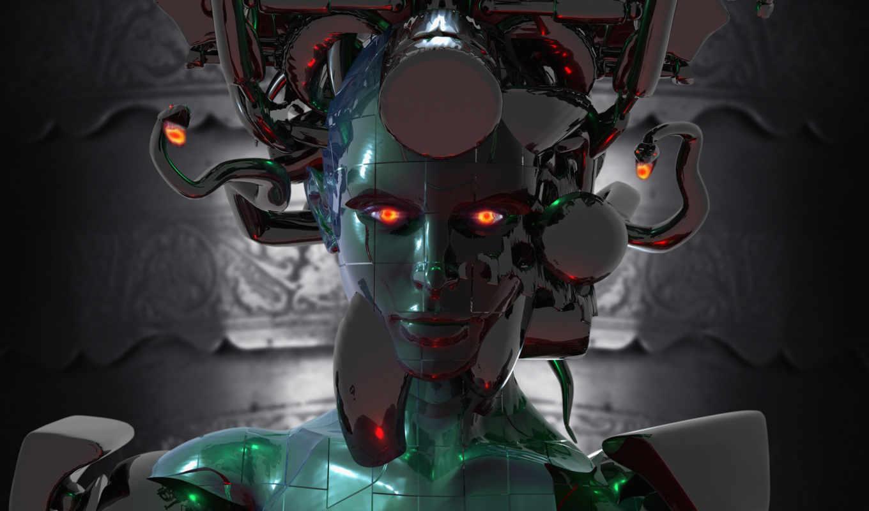 робот, девушка, графика, power, design, графикой, трехмерной, фона,