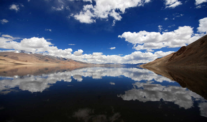 отражение, горы, небо, oblaka, воде, water, озеро, снег,