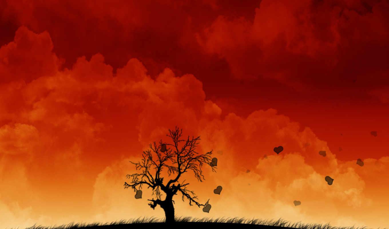 ,арт,облака,дерево,любовь,