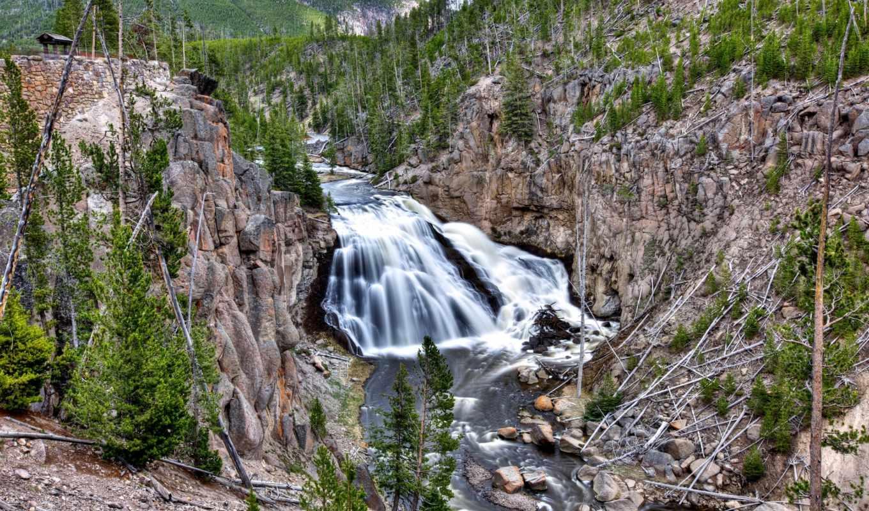 yellowstone, national, park, gibbon, река, rocks,