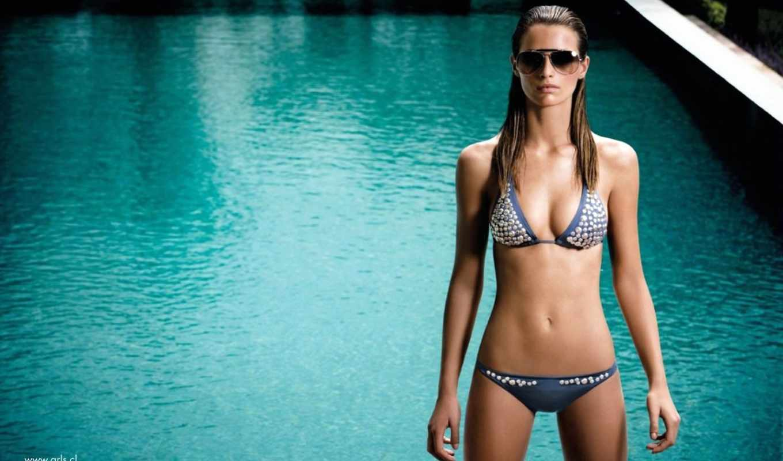 купальник, бассейн, девушка, очки,