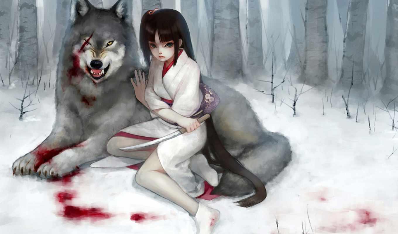 девушка, волк, кровь, принцесса, волки, mononoke,