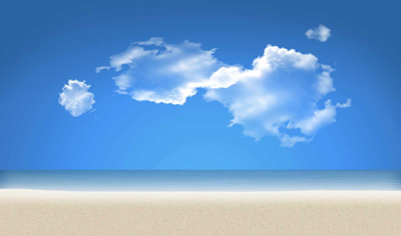 пляж, песок, море, небо, water,