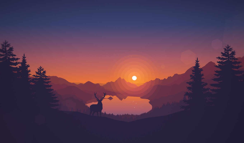 иконы, закат, лес, природа, art, заставки, компьютер, нашем,