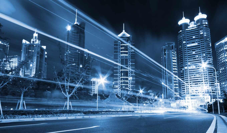 ночной, города, city, современный,