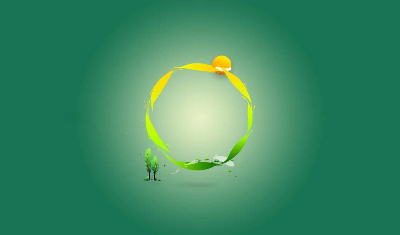 зелёный, минимализм, смотрите, круг,