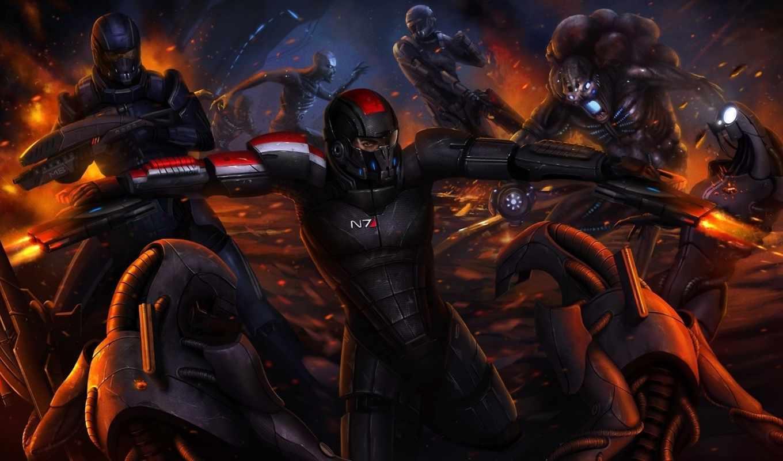 mass, effect, битва, шепард, капитан, жнецы, робот, арт,