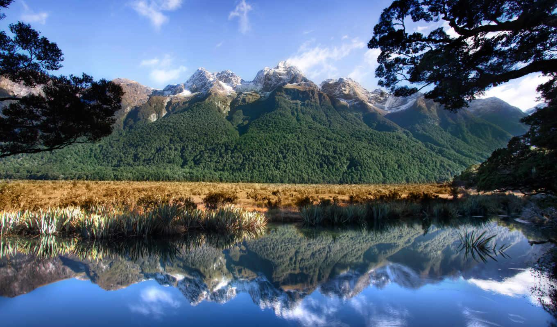 горы, озеро, природа, красивая, отражение,