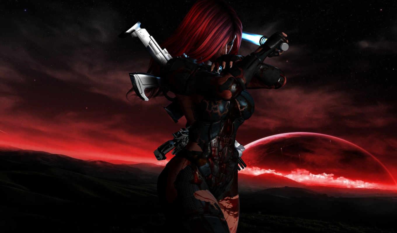 кровь, костюм, девушка, оружие, звезды,
