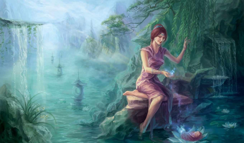 art, девушка, reservoir, water, лес, река, водопад,