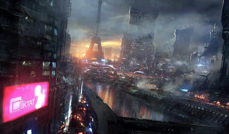 фантастика, art, ночь, будущее, город,