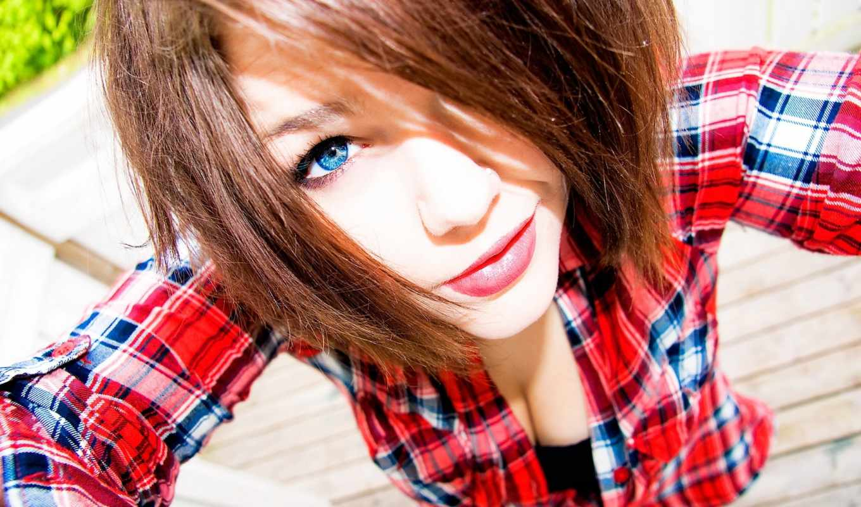 девушка, devushki, клетку, рубашке, рубашка, рыжая, голубоглазая,