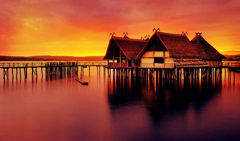 water, museum, закат, озеро, красивые, воде,