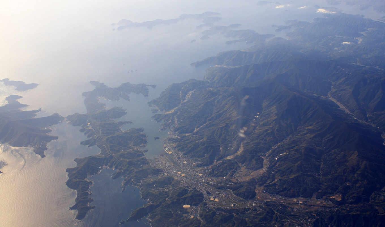 горы, вид, сверху, море, view, satellite, an, area, картинка, doğa, природа,
