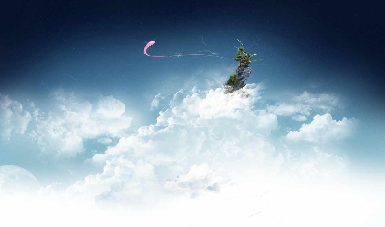 облака, небо, острова, ipad, new, retina, картинку, просмотреть, разные,
