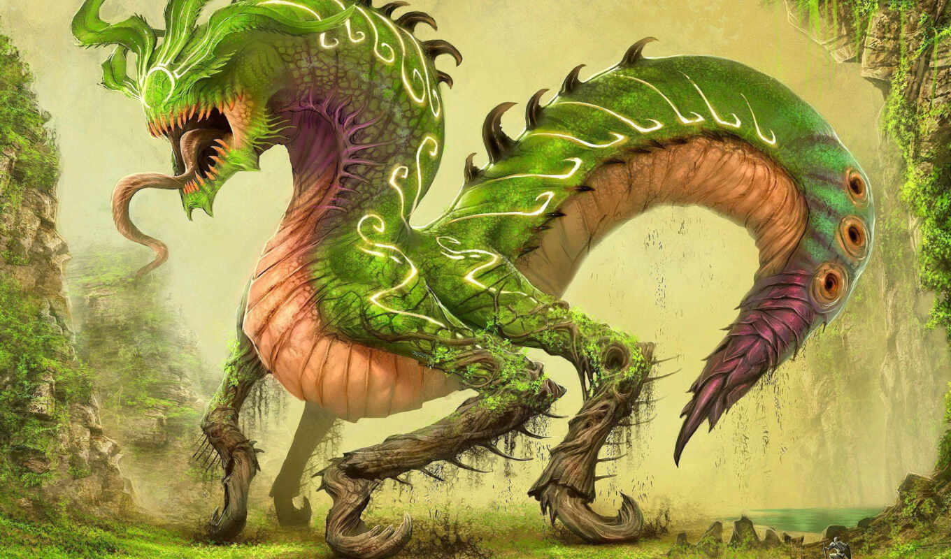 dragon, green, other, fantasy, tags, фантастики, картинок,