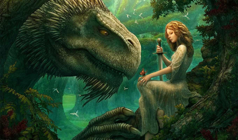 лес, меч, девушка, бабочка, фэнтези, зачарованный, птицы, феи, дракон, крылатые, эльф, воительница, деревья, волшебство, сказка, поляна,