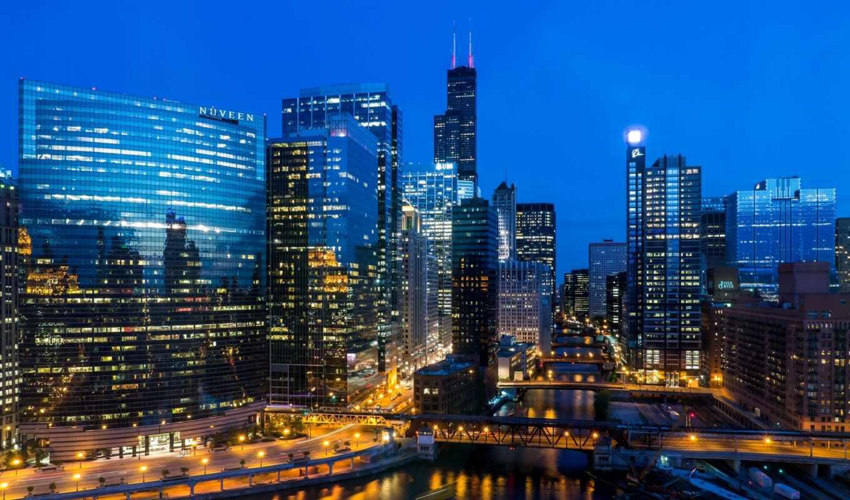 chicago, здания, вечер, освещение, сша, дома, мост, llinois, иллинойс, небоскребы, tower, willis, город, высотные, свет, usa, река, огни,
