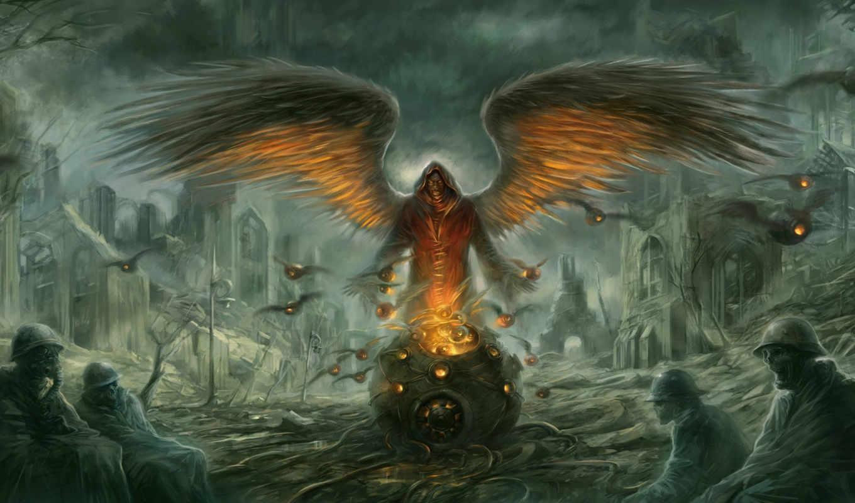 демон, люди, взгляд, крылья,