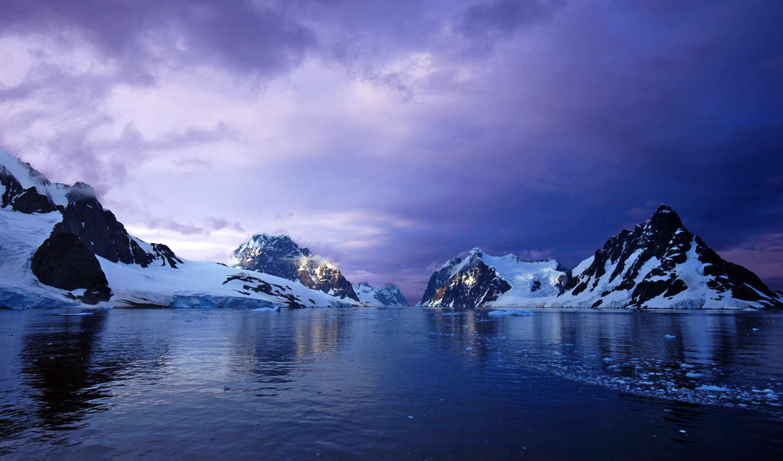 закат, горы, широкоформатные, антарктида, ocean, снег, glacier, purple, mountains,