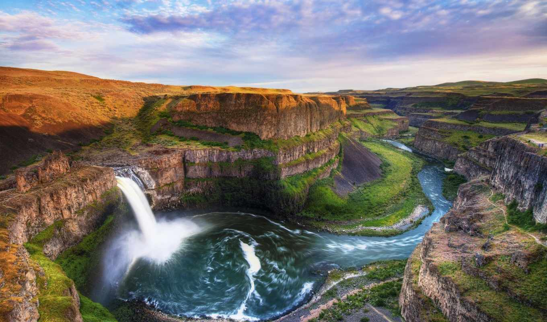 скалы, река, поток, водопад, palouse, falls, картинка, картинку, каньон, пейзаж, мыши, кнопкой, панорама, вода,