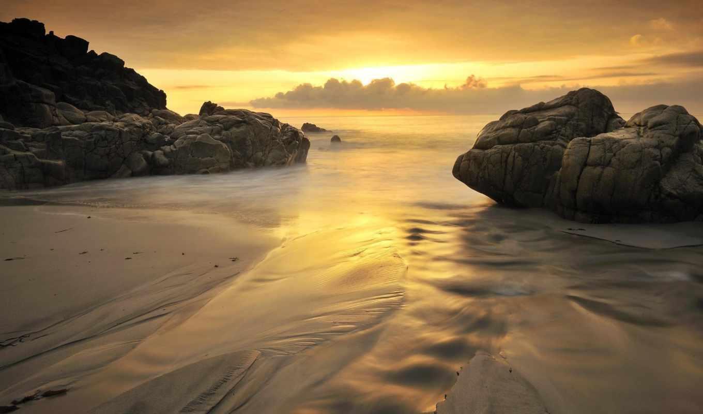 sunset, shore, sea, beach, top, телефон, seashore,