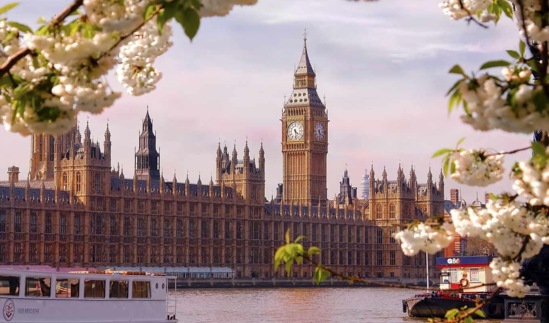 london, англия, широкоформатные, взгляд, река, город,