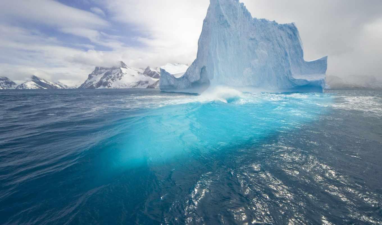 blue, iceberg, небо,