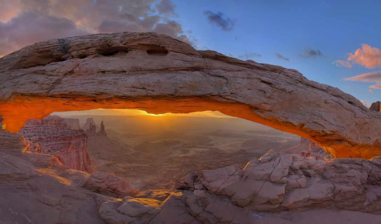 горы, каньон, взгляд, природа, рассвет, park, графика, state, usa, юта,
