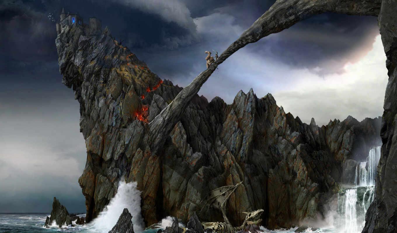 обои, алматы, скалы, раздела, фэнтези, волны, замо
