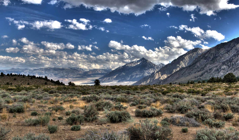 трава, облака, горы, равнина, hdr, hd, wallpaper, природа, kuv, картинка,