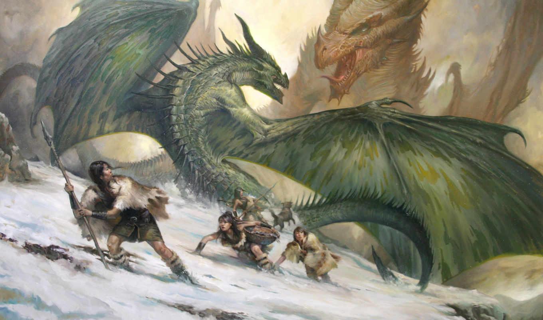 драконы, битва, амазонки, lucasgraciano, картинка, картинку, арт, люди, девушки, горы, скалы, снег, кнопкой, мыши,
