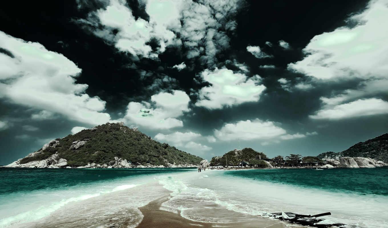острова, природа, часть, дорога, соединяющая, new, облака,