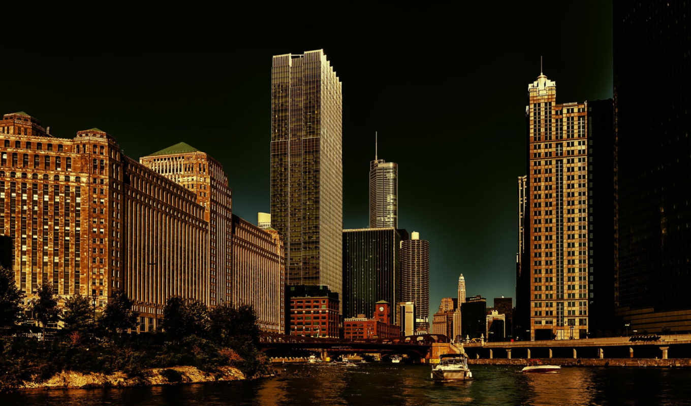 illinois, chicago, usa, chicago, skyscrapers, evening, lights, river