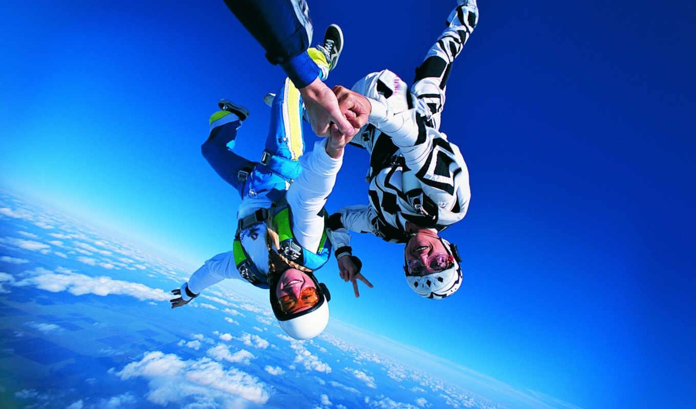 небо, time, прыжок, парашютом, парашютный, экстрим,