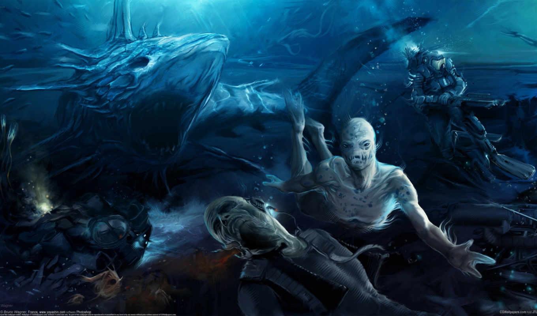 wagner, bruno, водолаз, монстры, акула,