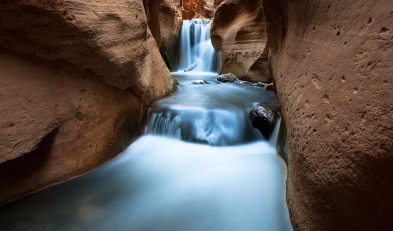камни, скалы, водопад, дек,